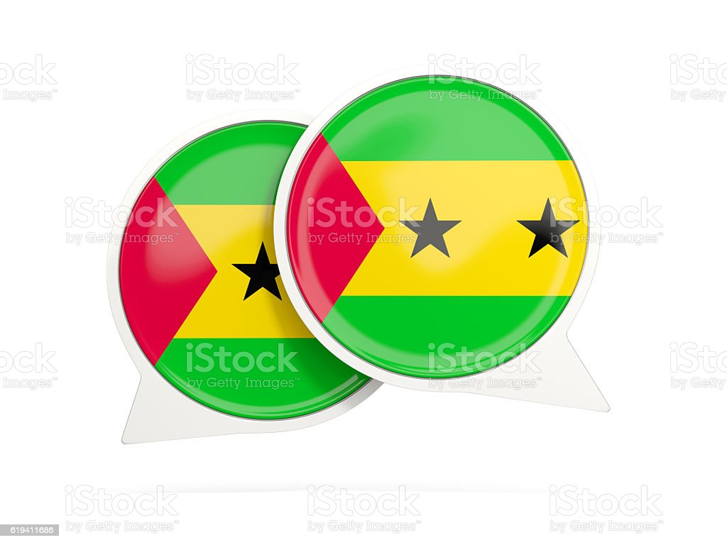 Flag of sao tome and principe, round chat icon stock photo