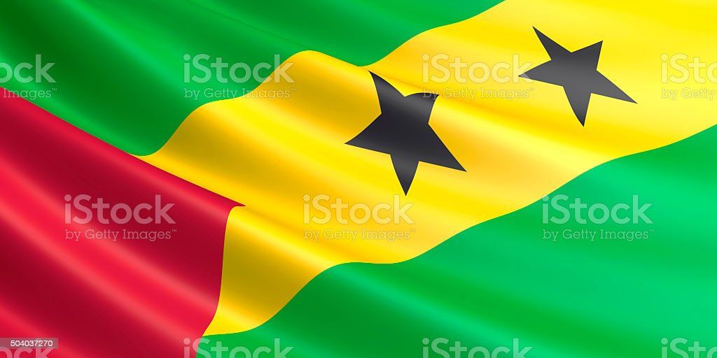 Flag of Sao Tome and Principe waving in the wind. royalty-free stock vector art
