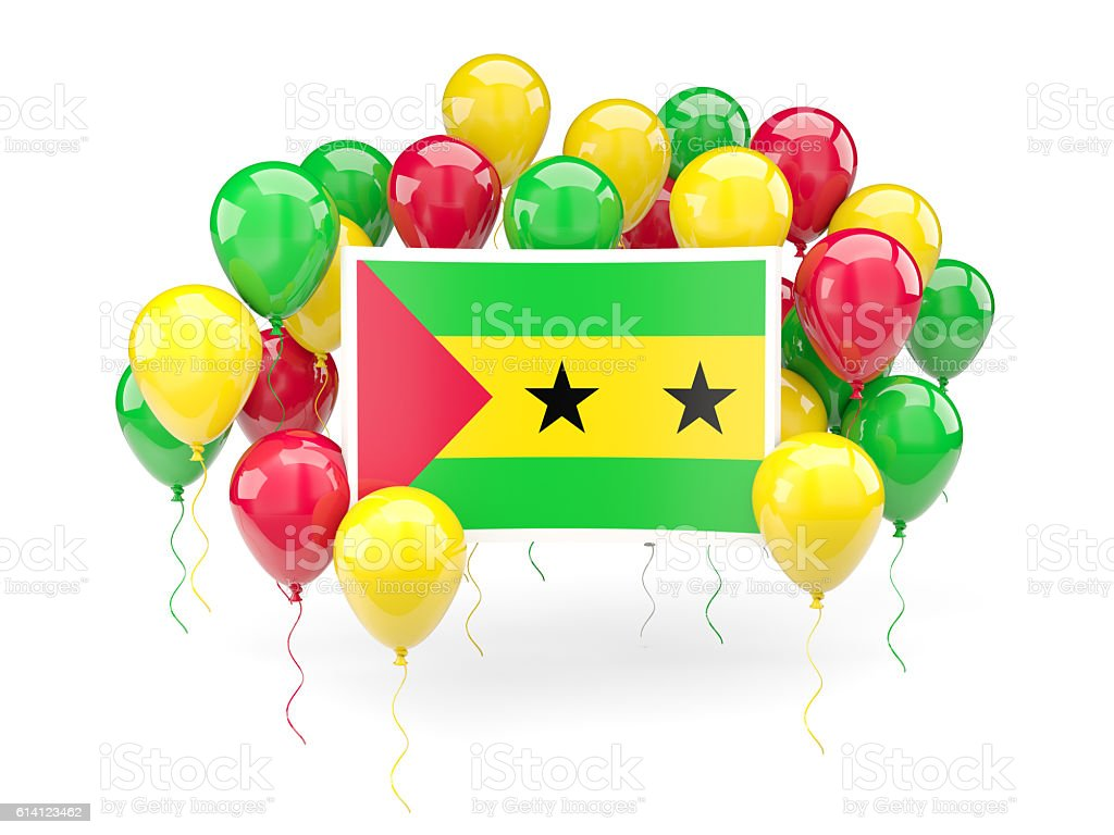 Flag of sao tome and principe with balloons stock photo