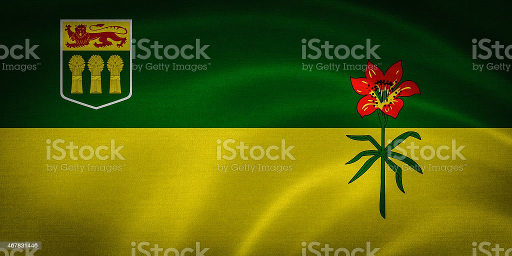 Flag of Saskatchewan stock photo