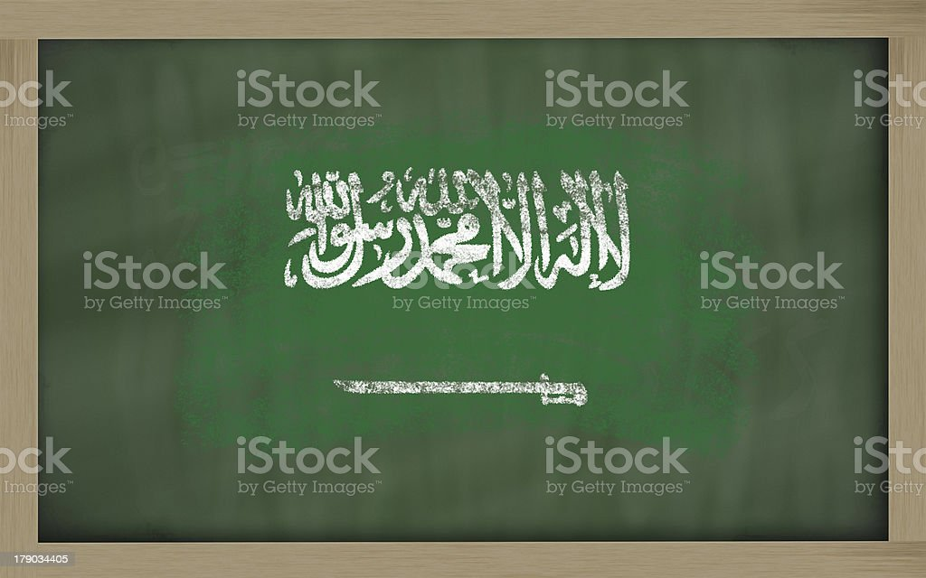 flag of saudi arabia on blackboard painted with chalk royalty-free stock photo