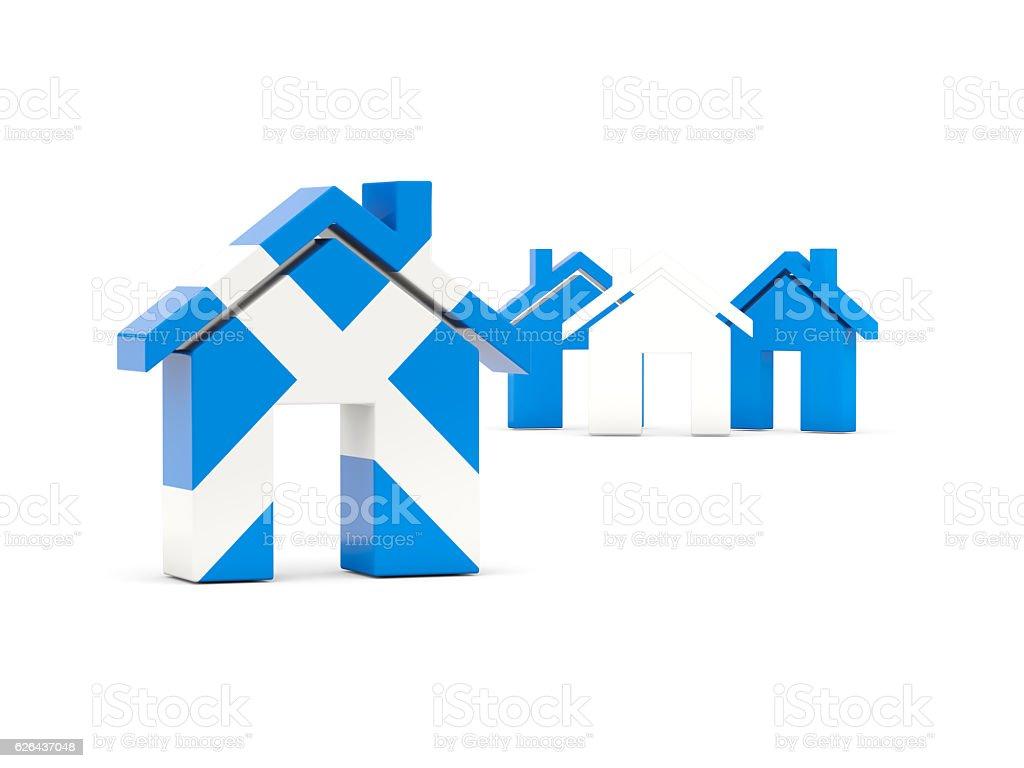Flag of scotland, home icon stock photo