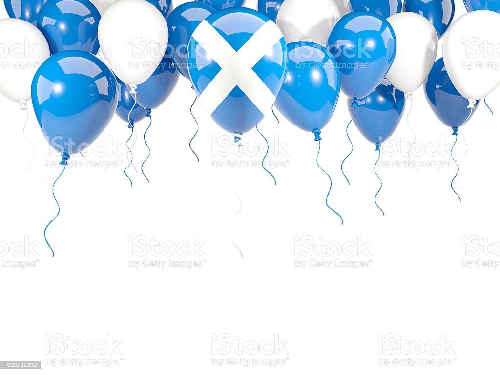 Flag of scotland on balloons stock photo