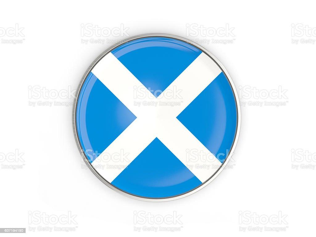 Flag of scotland, round icon with metal frame stock photo