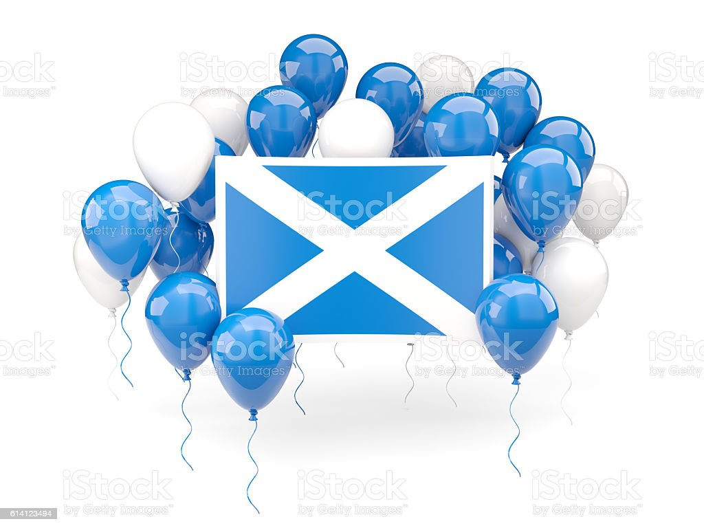 Flag of scotland with balloons stock photo