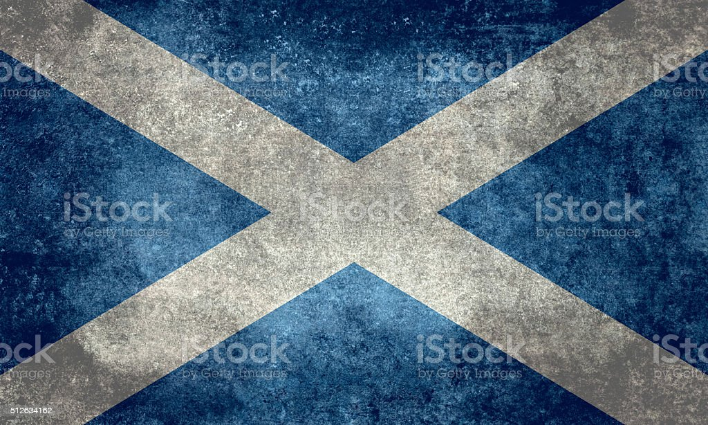 Flag of Scotland with distressed vintage treatment vector art illustration
