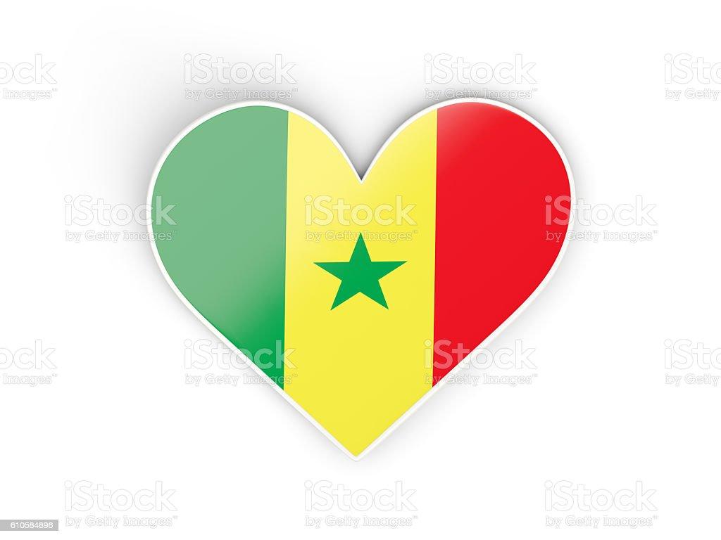 Flag of senegal, heart shaped sticker stock photo