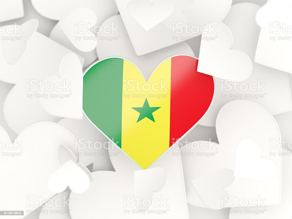 Flag of senegal, heart shaped stickers stock photo