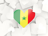 Flag of senegal, heart shaped stickers
