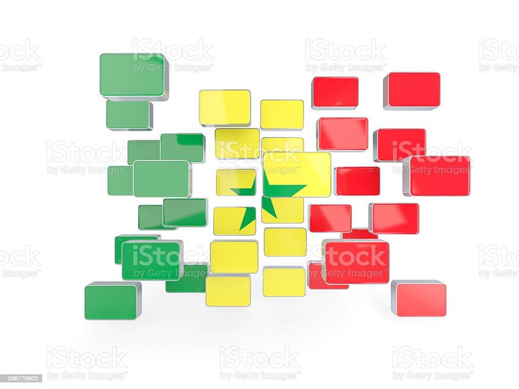Flag of senegal, mosaic background stock photo