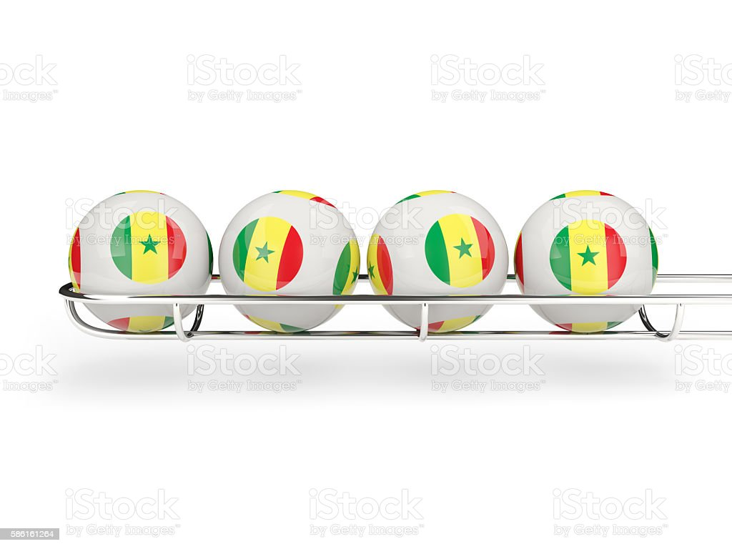 Flag of senegal on lottery balls stock photo