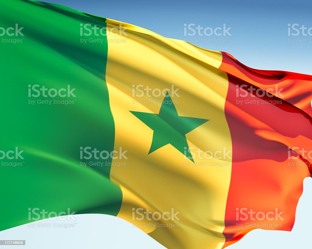 Flag of Senegal stock photo