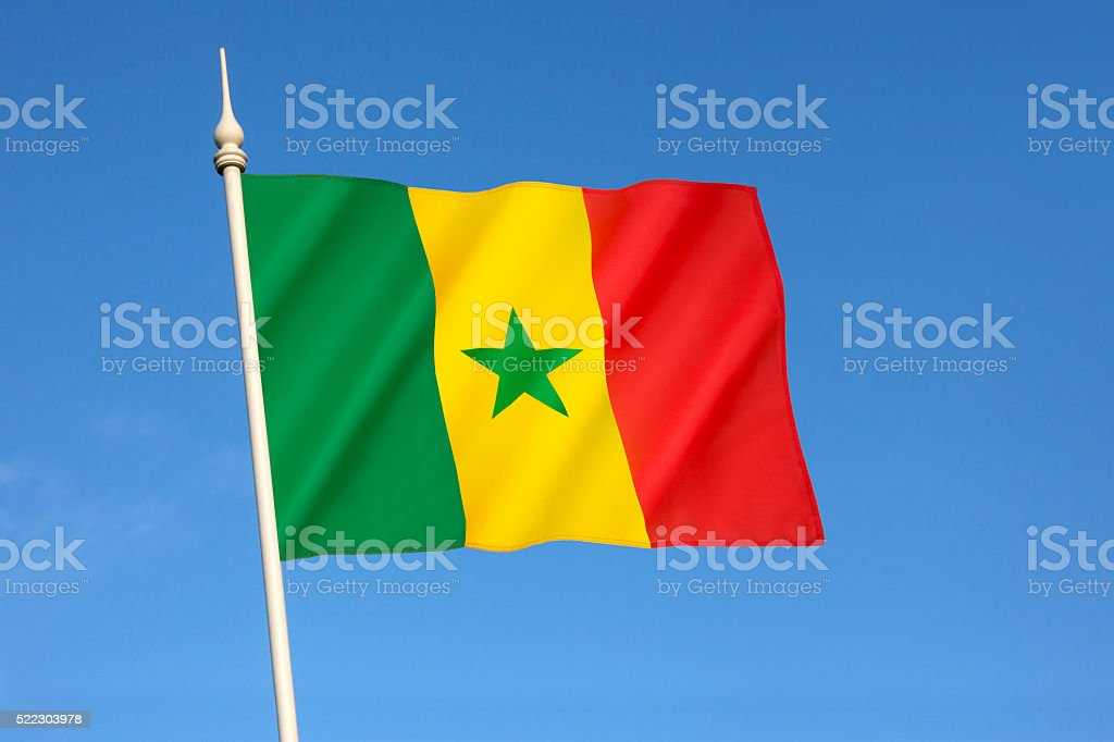 Flag of Senegal stock photo