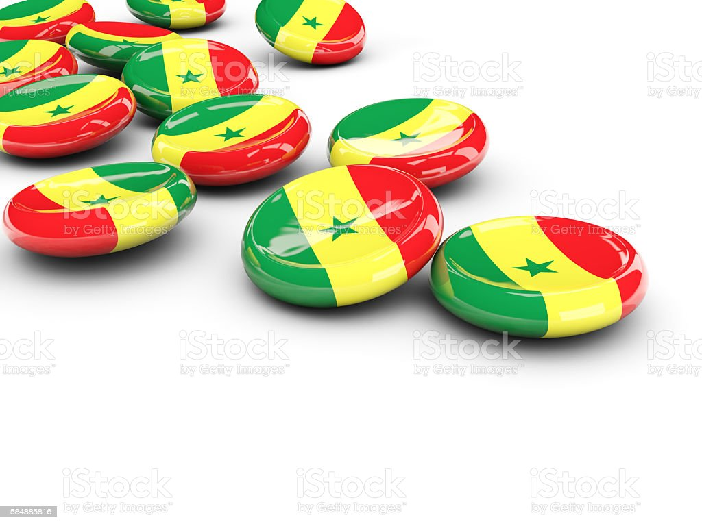 Flag of senegal, round buttons stock photo