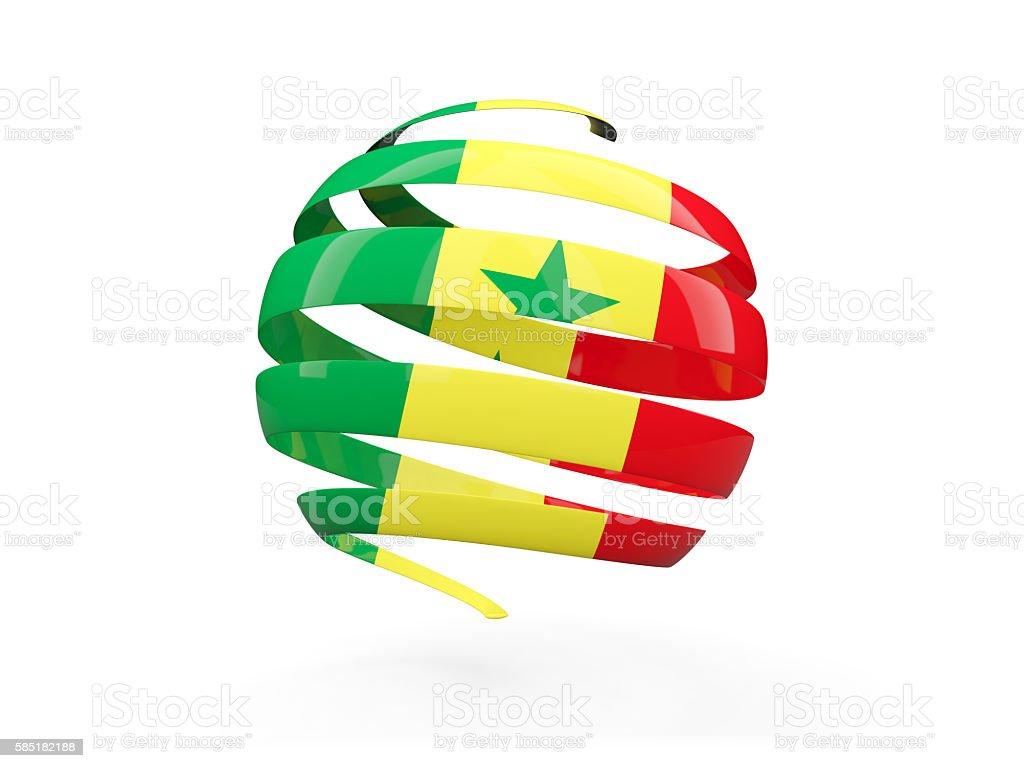 Flag of senegal, round icon stock photo