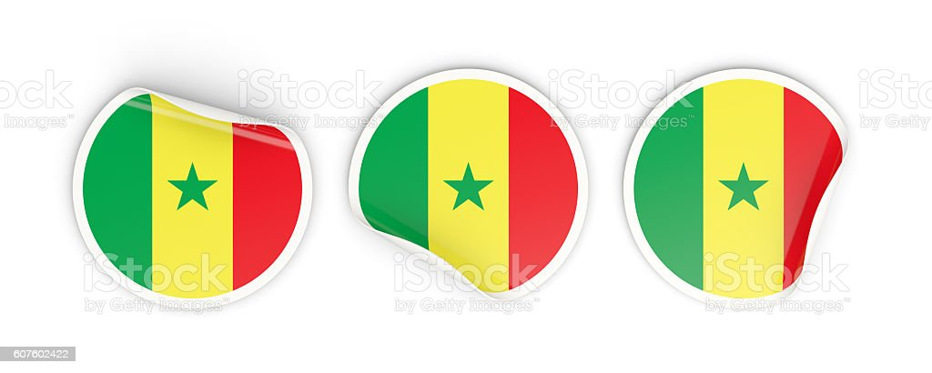 Flag of senegal, round labels stock photo