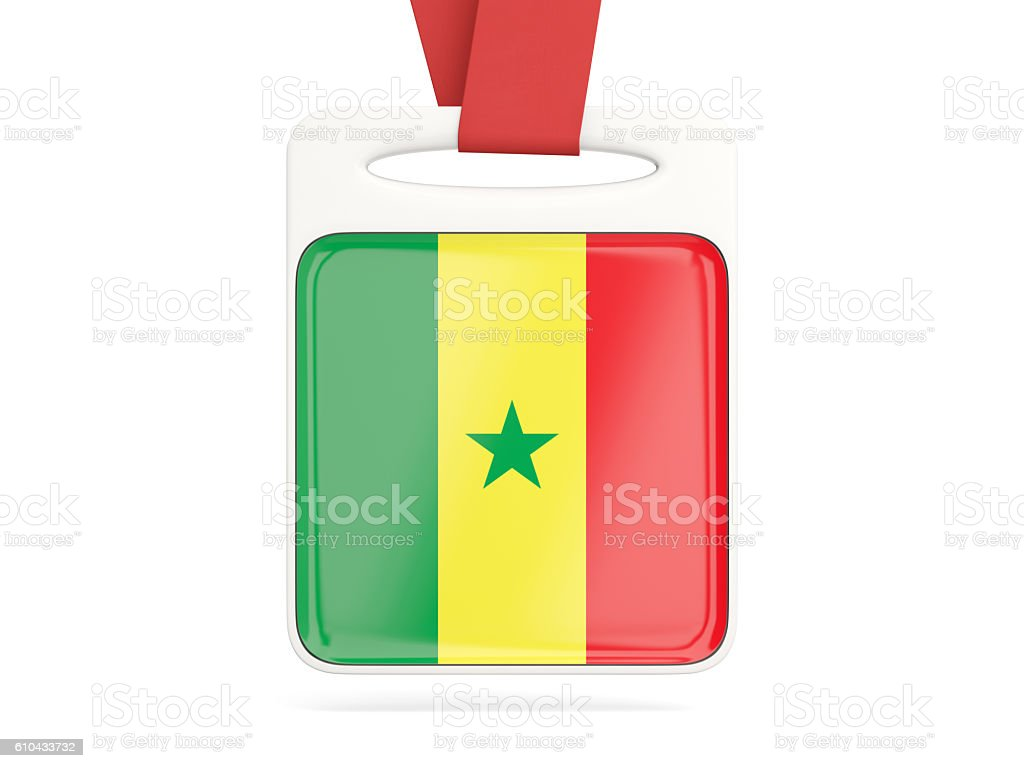Flag of senegal, square card stock photo