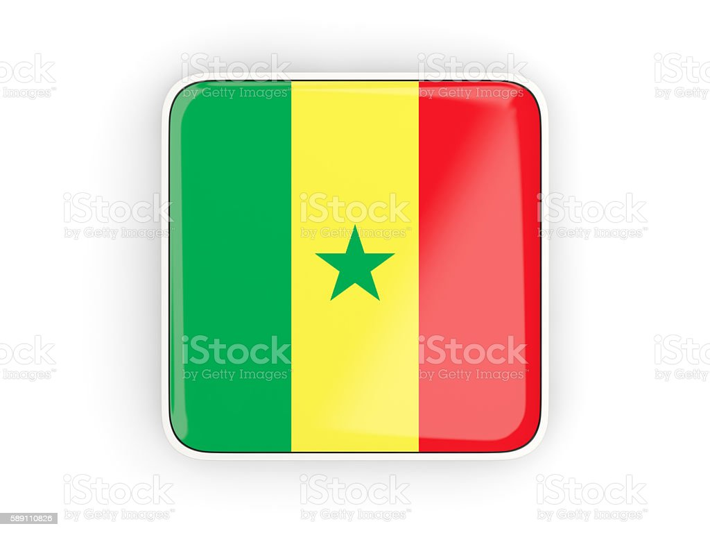 Flag of senegal, square icon stock photo