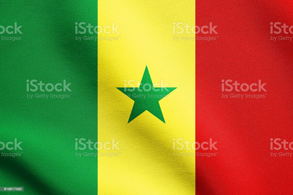 Flag of Senegal waving with fabric texture stock photo