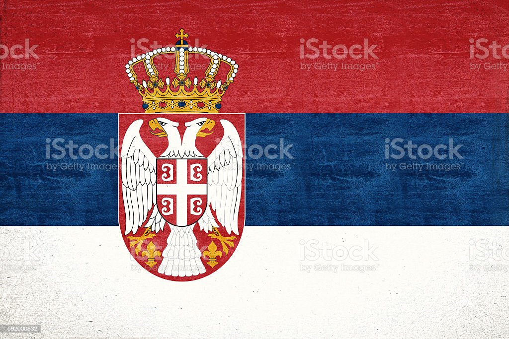 Flag of Serbia Grunge stock photo