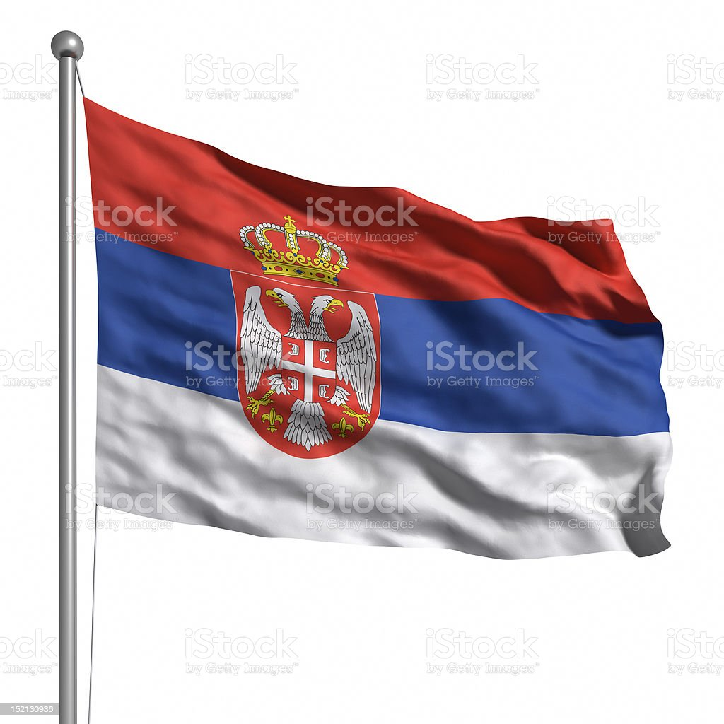 Flag of Serbia (Isolated) stock photo