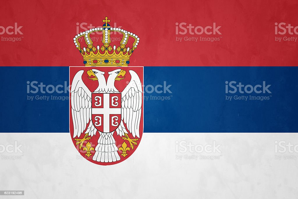 Flag Of Serbia stock photo