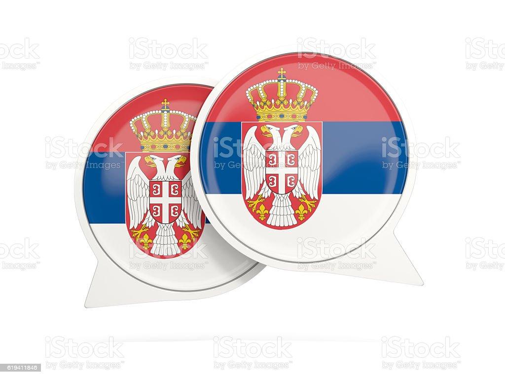 Flag of serbia, round chat icon stock photo