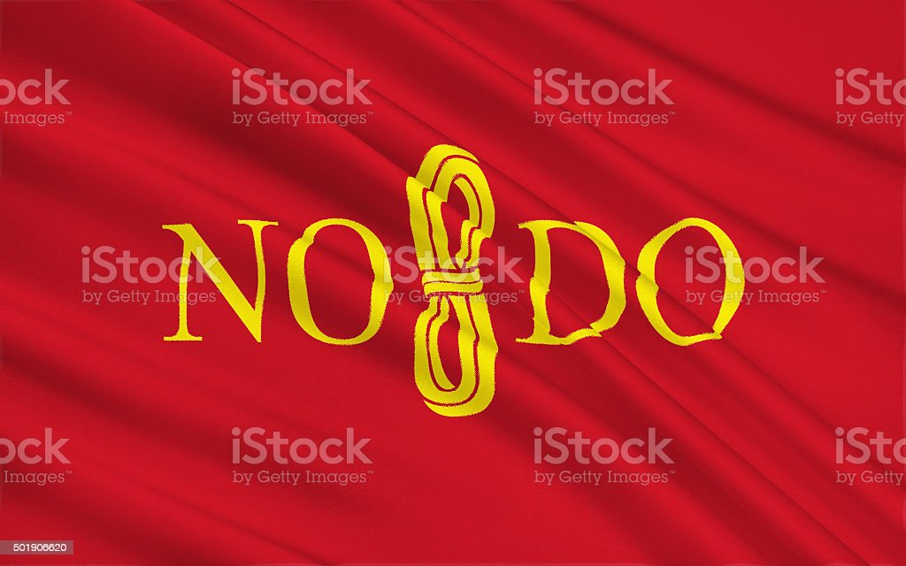 Flag of Seville - a city in southern Spain. stock photo