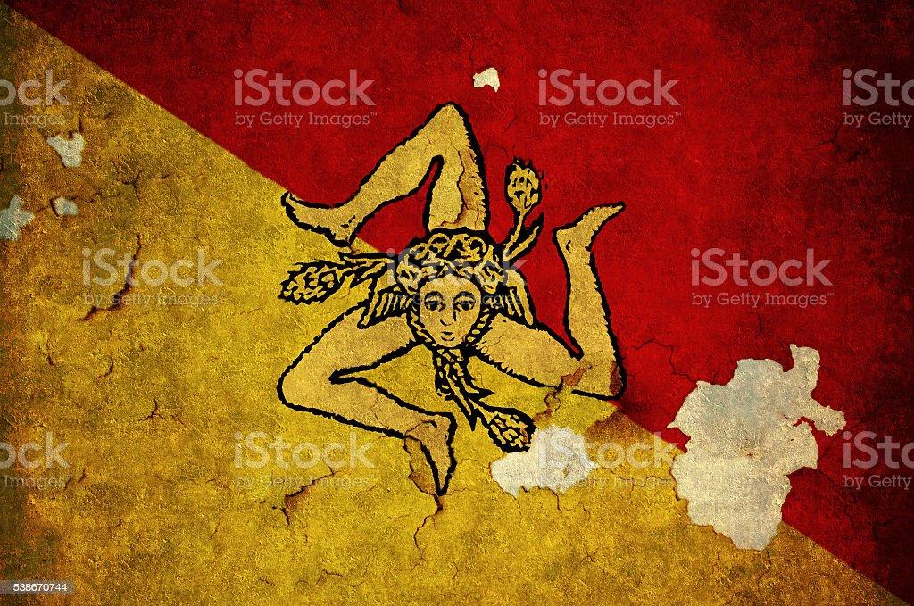 Flag of Sicily stock photo