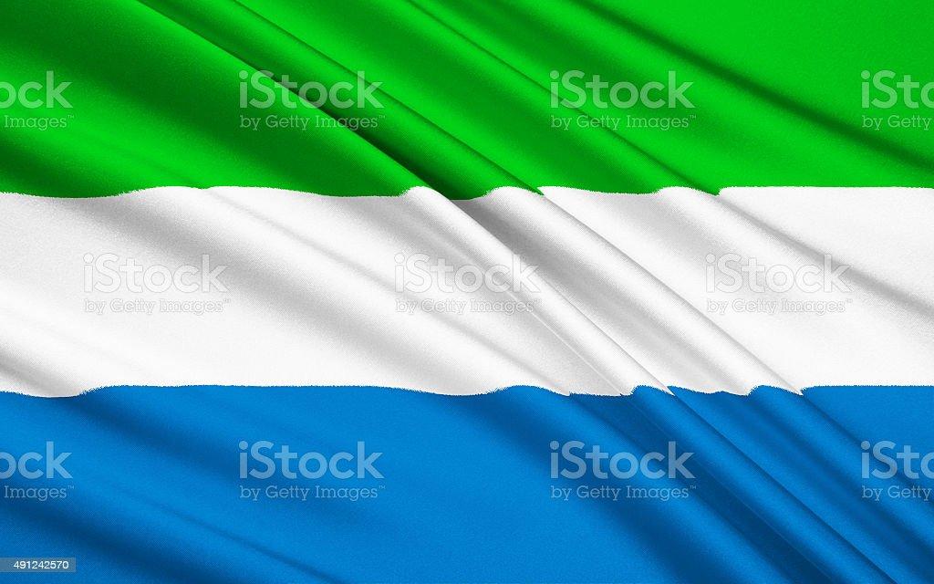Flag of Sierra Leone, Freetown stock photo