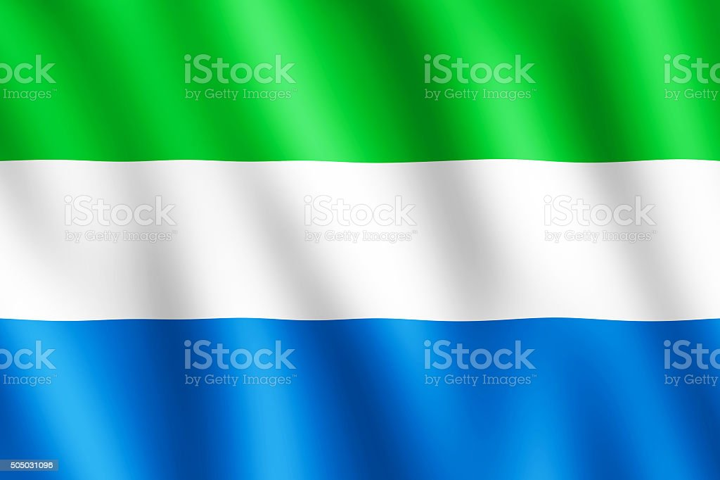 Flag of Sierra Leone waving in the wind stock photo