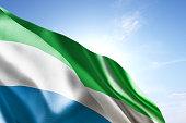 Flag of Sierra Leone waving in the wind