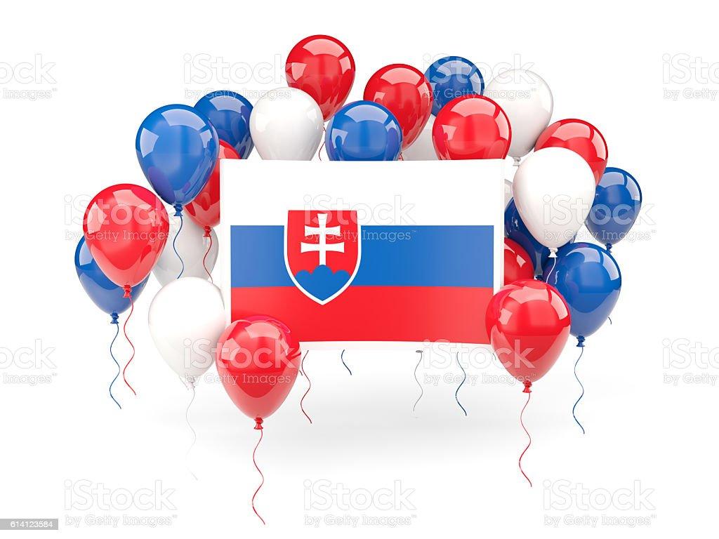 Flag of slovakia with balloons stock photo