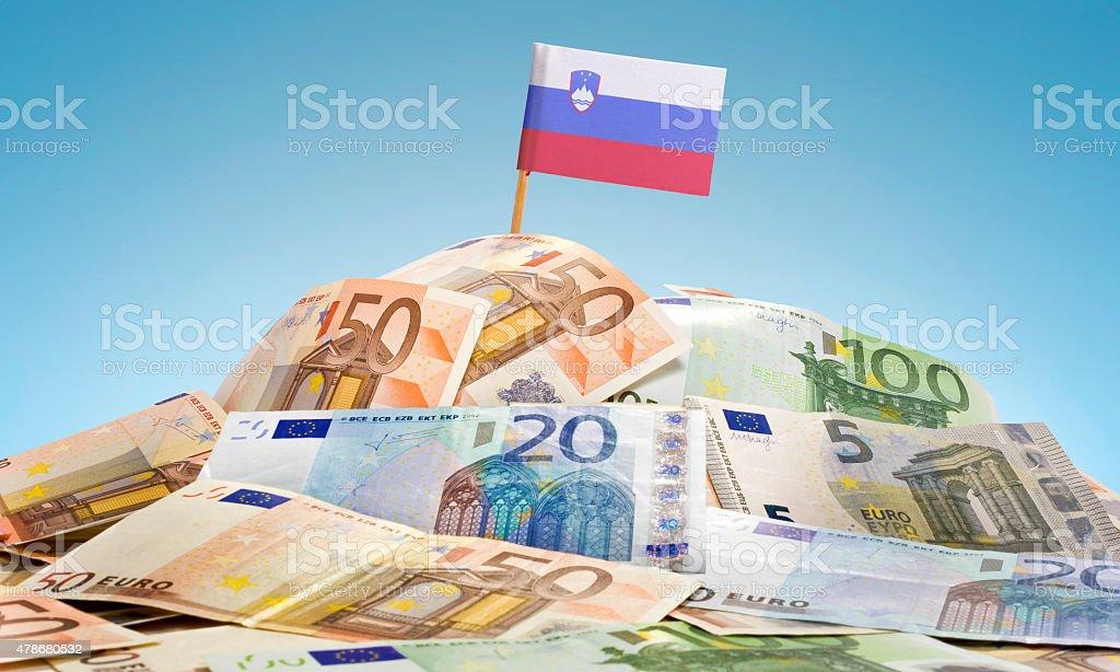 Flag of Slovenia sticking in european banknotes.(series) stock photo