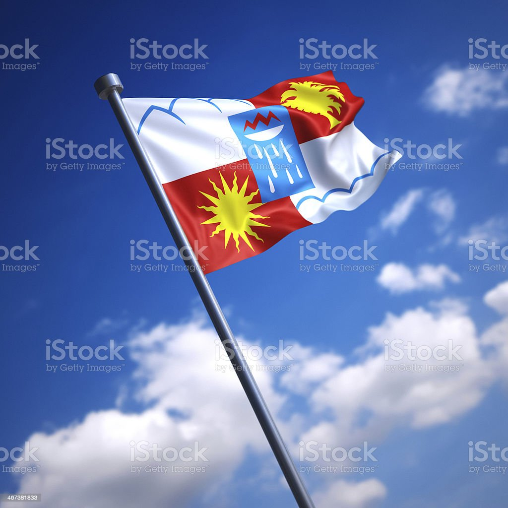 Flag of Sochi, Russia against blue sky stock photo