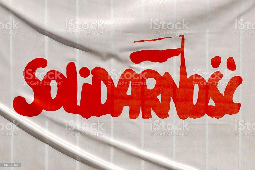 Flag of Solidarnosc in Poland stock photo