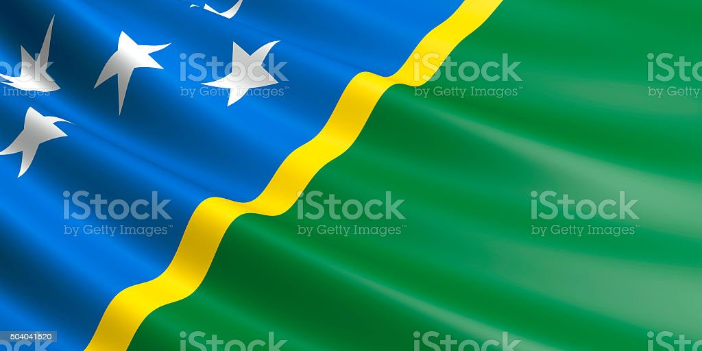 Flag of Solomon Islands waving in the wind. royalty-free stock vector art