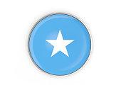 Flag of somalia, round icon with metal frame