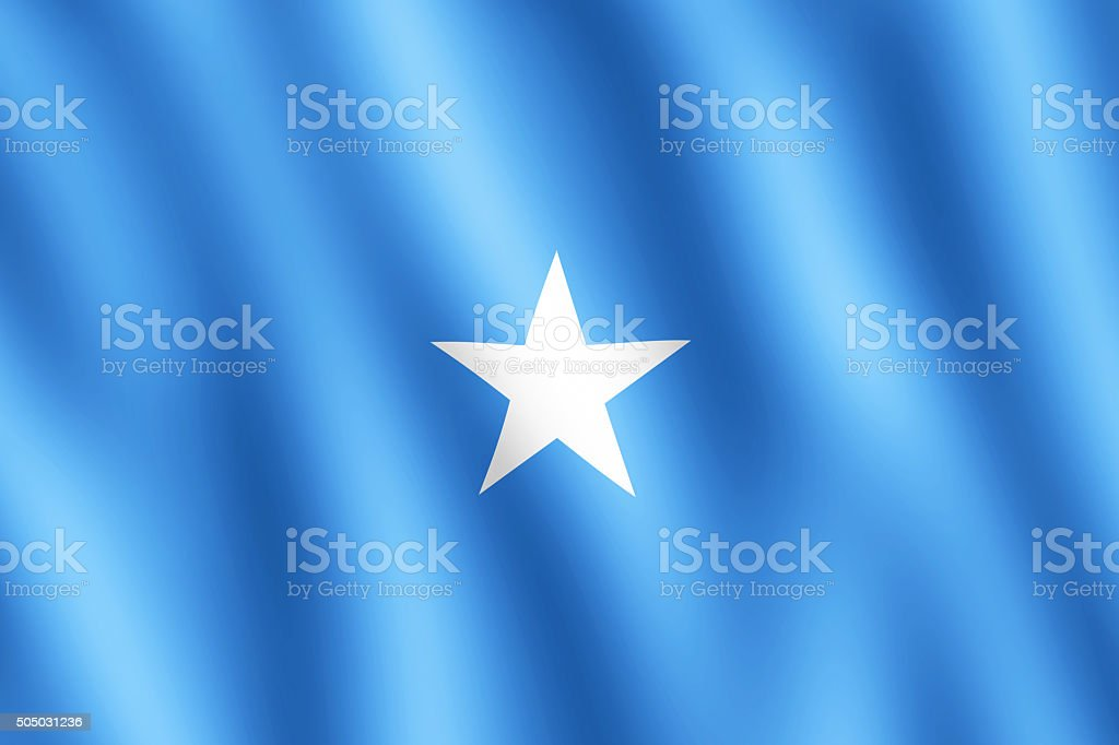Flag of Somalia waving in the wind stock photo