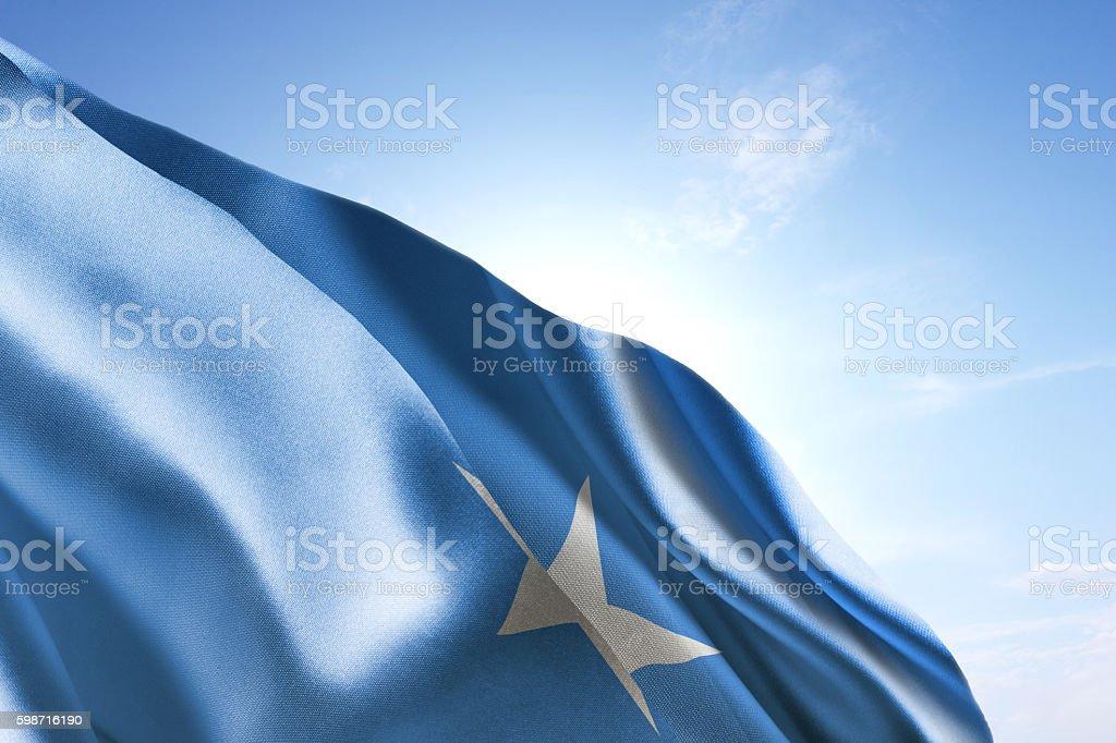 Flag of Somalia waving in the wind stock photo