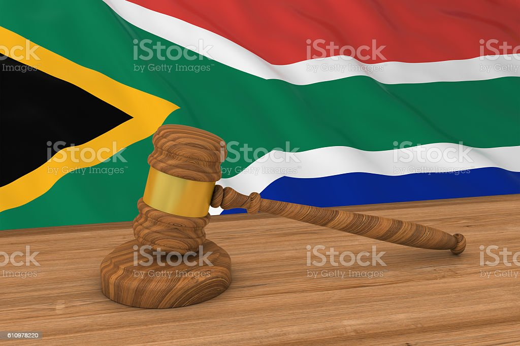 Flag of South Africa Behind Judge's Gavel stock photo