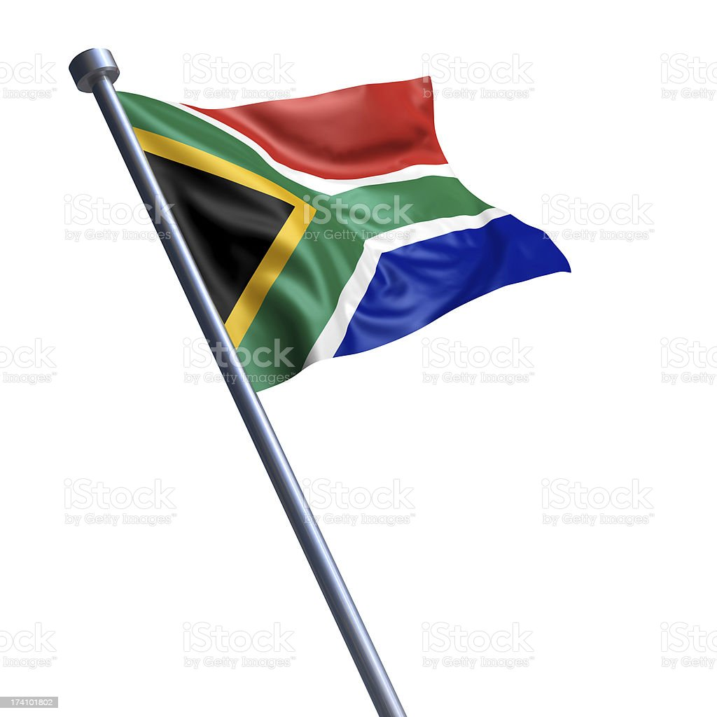 Flag of South Africa isolated on white stock photo