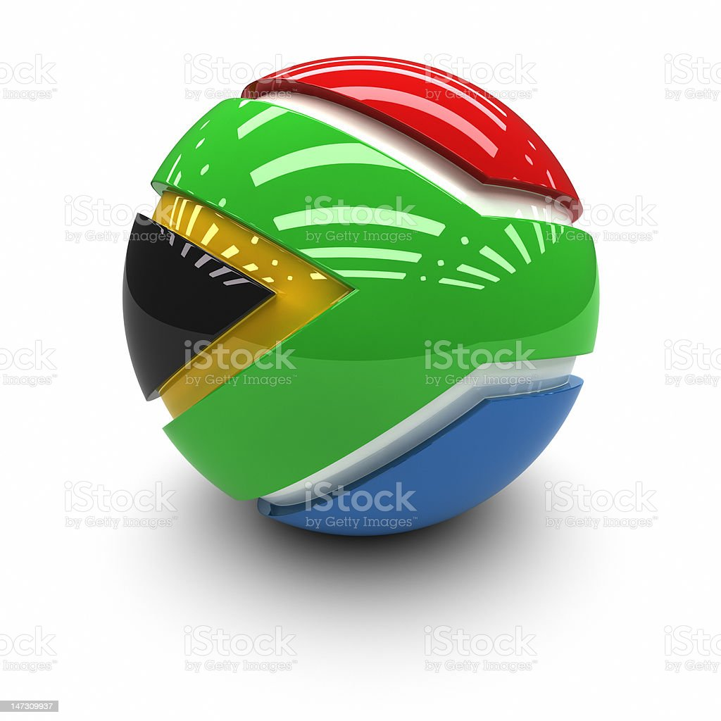 3D  - Flag of South Africa royalty-free stock photo