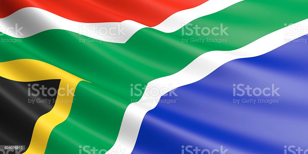 Flag of South Africa waving in the wind. royalty-free stock photo