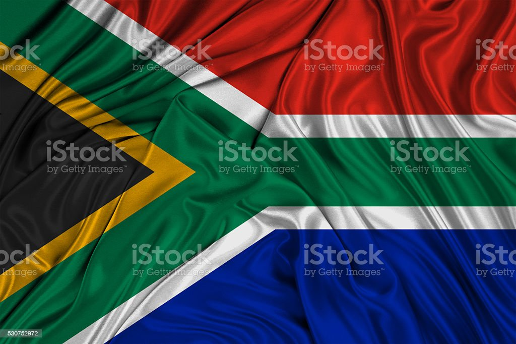 Flag of South African Republic 3d, silk textured stock photo