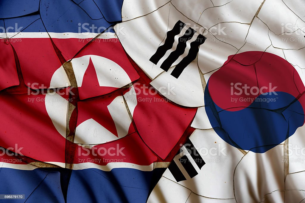 Flag of South and North Korea on a cracked wall. stock photo