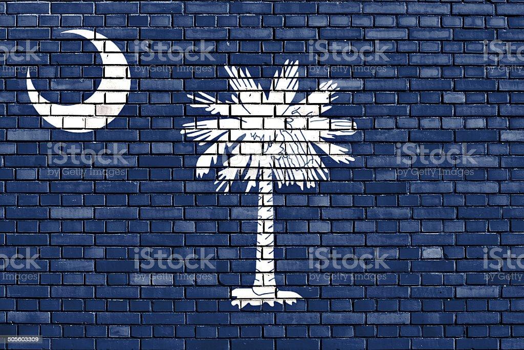 flag of South Carolina painted on brick wall stock photo