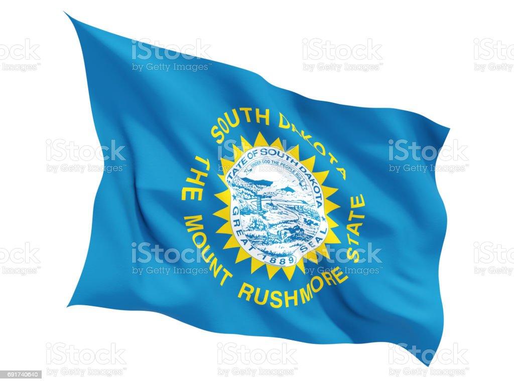 Flag of south dakota, US state fluttering flag stock photo