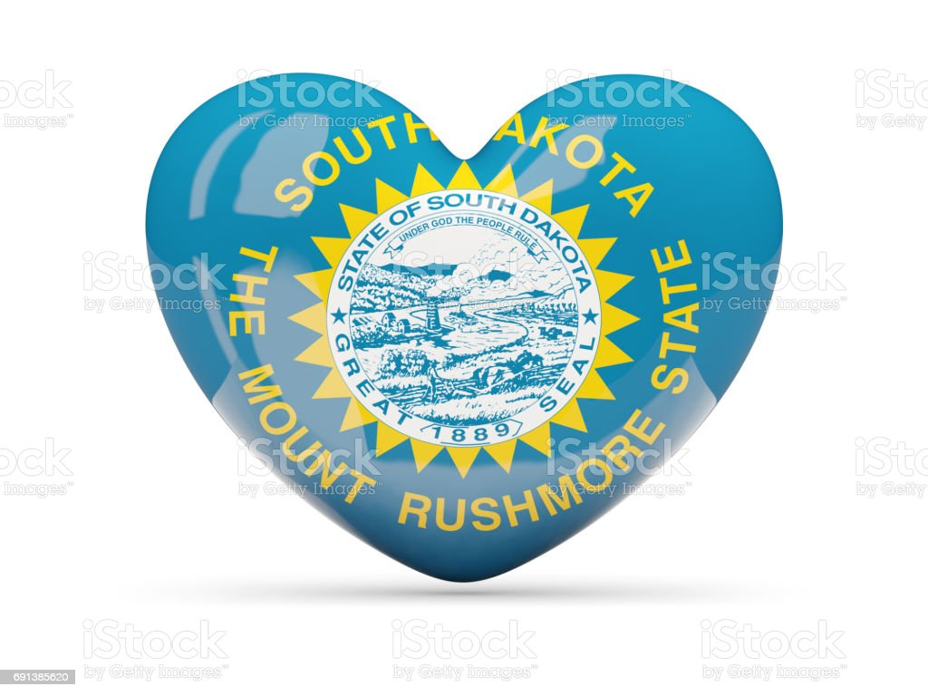 Flag of south dakota, US state heart icon stock photo