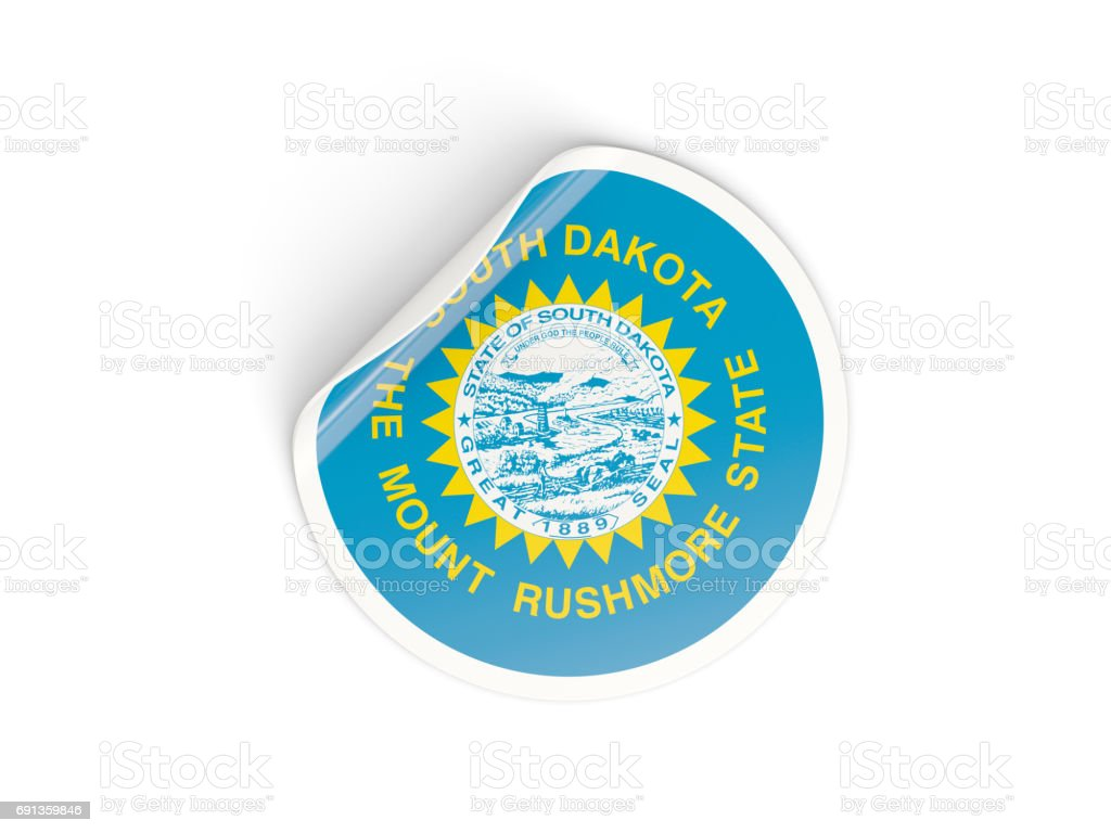 Flag of south dakota, US state round sticker stock photo
